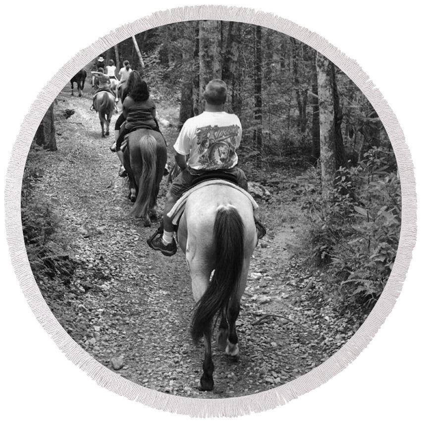 Horse Round Beach Towel featuring the photograph Horse Trail by Frozen in Time Fine Art Photography
