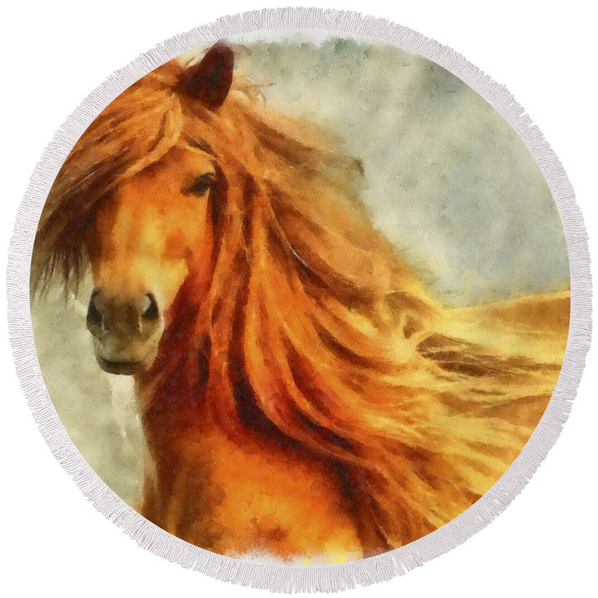 Watercolor Round Beach Towel featuring the photograph Horse Two by Ingrid Smith-Johnsen