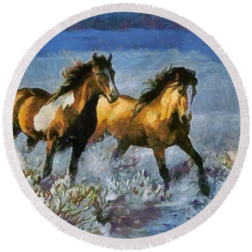 Horses In Water Round Beach Towel featuring the digital art Horses In Water by Catherine Lott