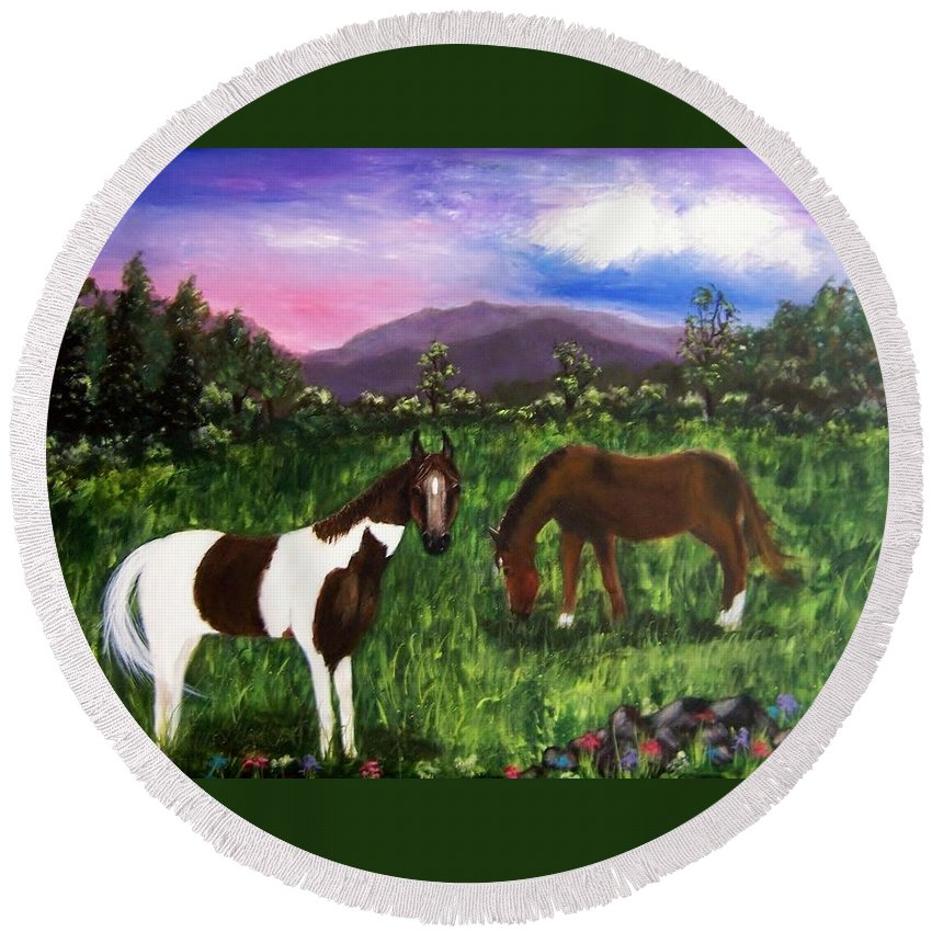 Horses Round Beach Towel featuring the painting Horses by Jamie Frier