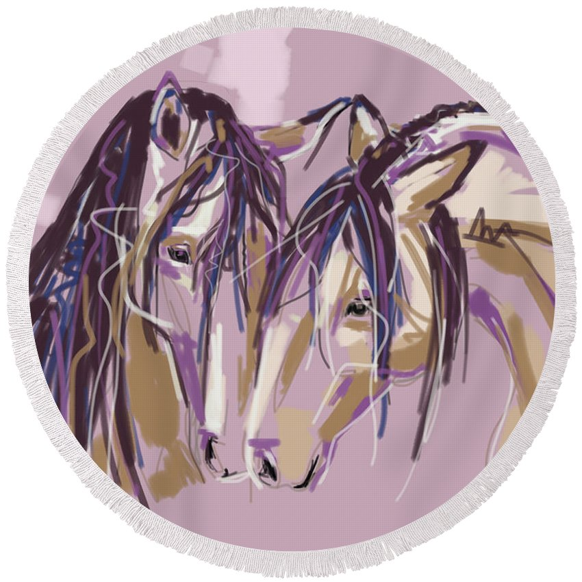 Horse Round Beach Towel featuring the painting horses Purple pair by Go Van Kampen