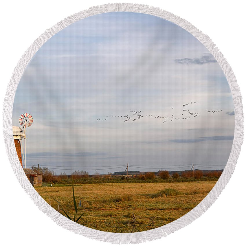 Travel Round Beach Towel featuring the photograph Horsey Windmill In Autumn by Louise Heusinkveld