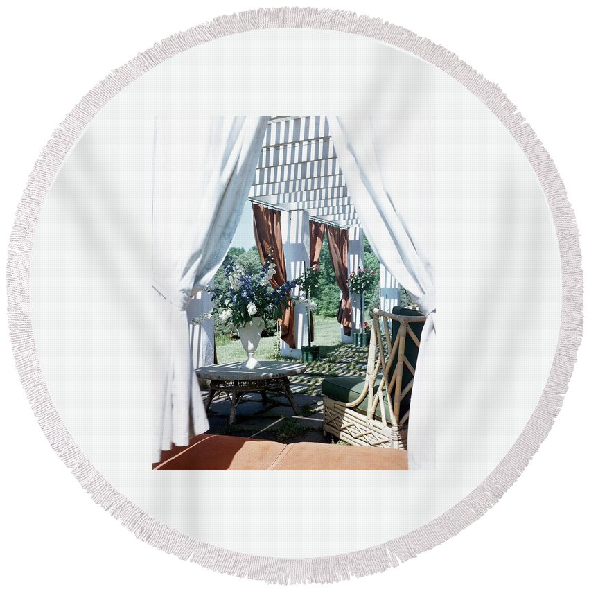 Exterior Round Beach Towel featuring the photograph Horst's Patio In Long Island by Horst P. Horst