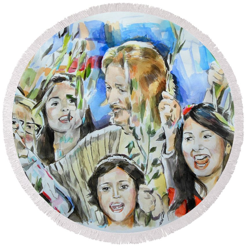 Jesus Christ Superstar Round Beach Towel featuring the painting Hosanna Rome by Lucia Hoogervorst