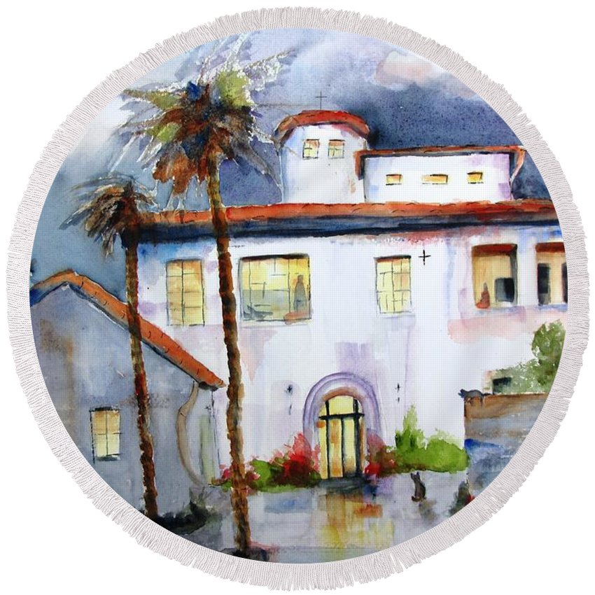 Mission Round Beach Towel featuring the painting Hospitality House by Carlin Blahnik CarlinArtWatercolor