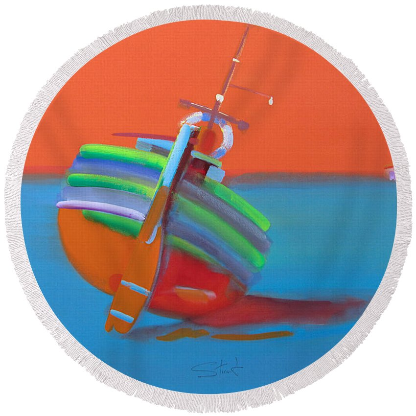 Wooden Fishing Boat Round Beach Towel featuring the painting Hot Afternoon by Charles Stuart