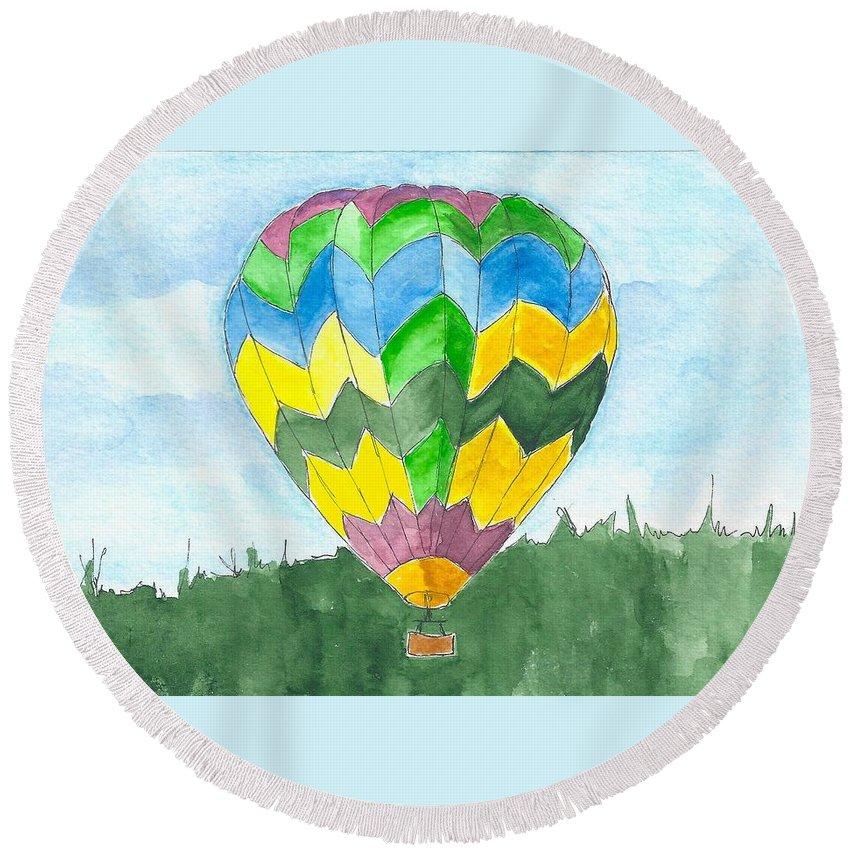 Hot Air Balloon Round Beach Towel featuring the painting Hot Air Balloon 01 by Judith Rice
