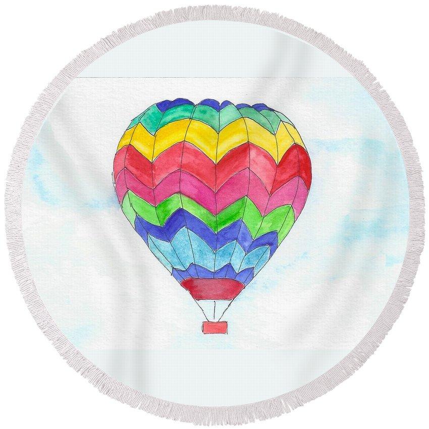 Hot Air Balloon Round Beach Towel featuring the painting Hot Air Balloon 02 by Judith Rice