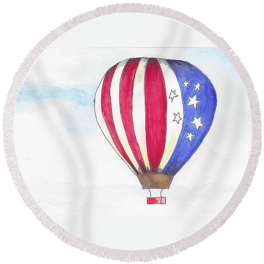 Hot Air Balloon Round Beach Towel featuring the painting Hot Air Balloon 07 by Judith Rice
