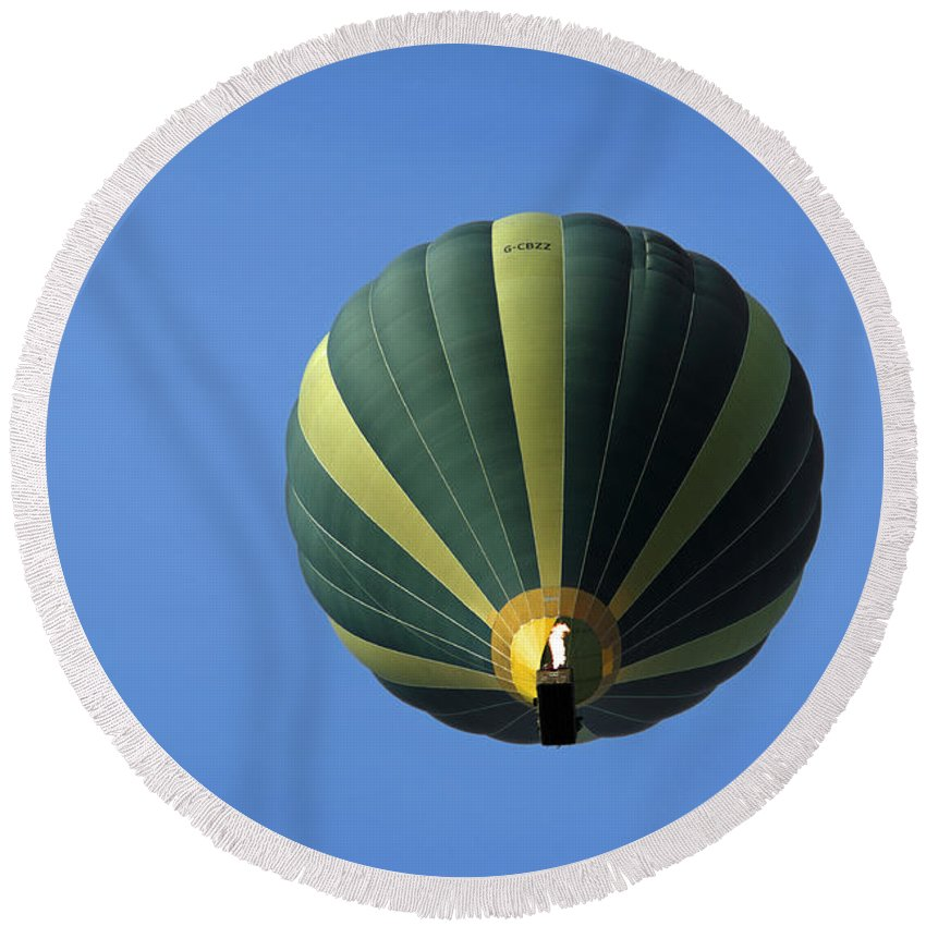Staffordshire Round Beach Towel featuring the photograph Hot Air Balloon - Above Wetton by Rod Johnson