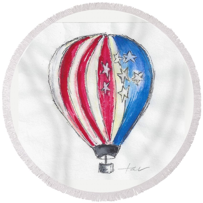 Hot Air Balloon Round Beach Towel featuring the painting Hot Air Balloon Misc 01 by Judith Rice