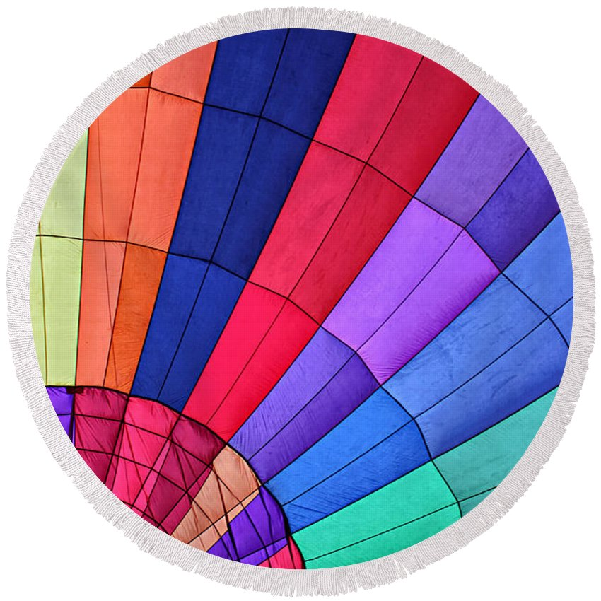Hot Air Balloon Round Beach Towel featuring the photograph Hot Air Balloon by Stefan H Unger