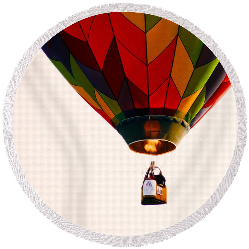 Just Caught This Flight Round Beach Towel featuring the photograph Hot Air Balloon by Tracy Winter