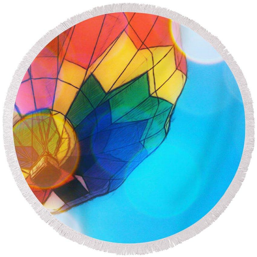 Hot Air Balloon Round Beach Towel featuring the photograph Hot Air Bokeh by Alice Gipson