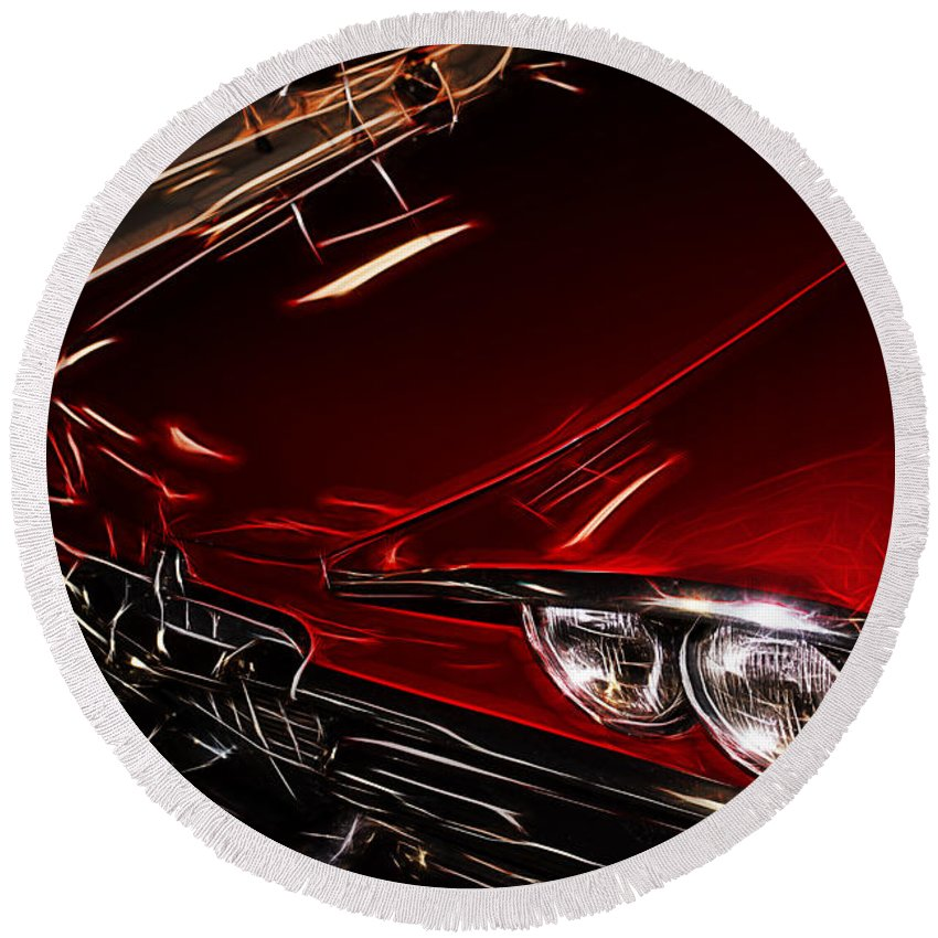 Round Beach Towel featuring the digital art Hot Red Car by Cathy Anderson