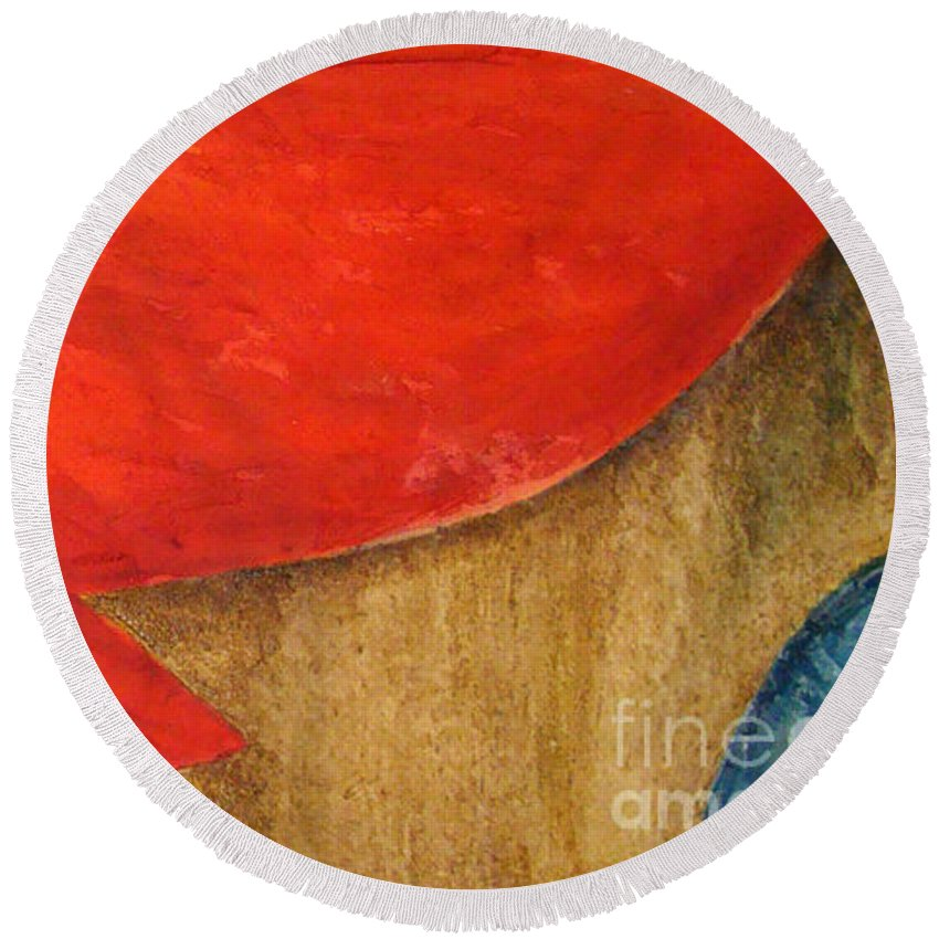 Abstract Round Beach Towel featuring the painting Hot Spot by Silvana Abel