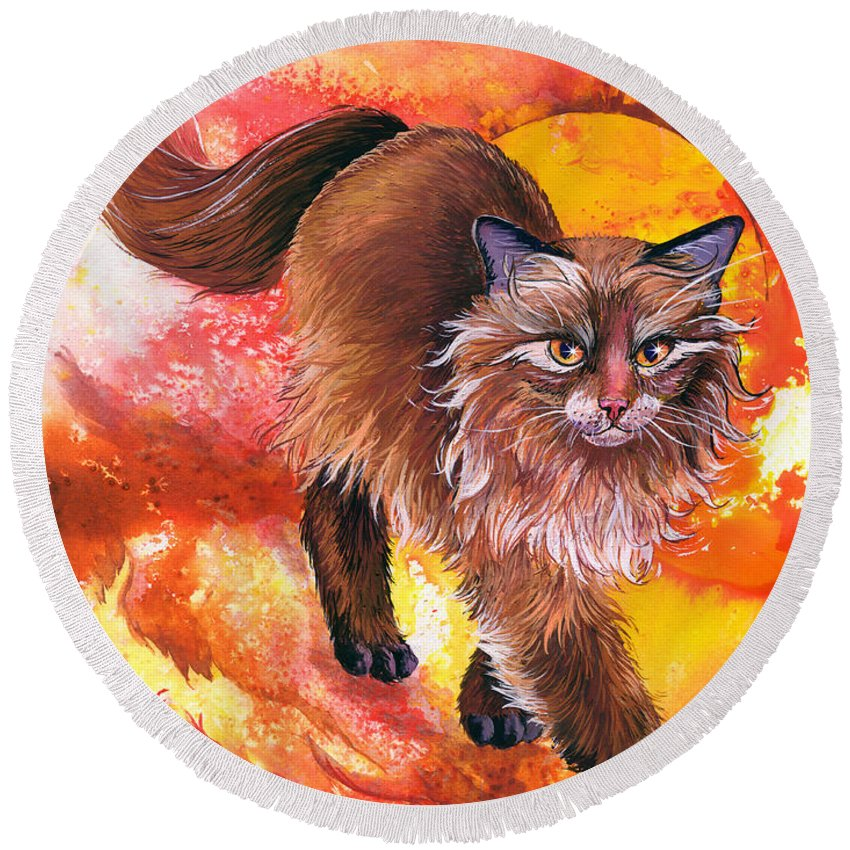 Cat. Kitty Round Beach Towel featuring the painting Hot Stuff by Sherry Shipley