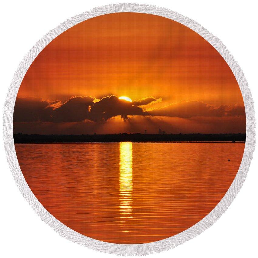 Summer Round Beach Towel featuring the photograph Hot Summer Sunrise by Davids Digits