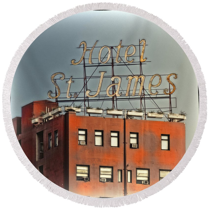 San Diego Round Beach Towel featuring the photograph Hotel St. James by Claude LeTien