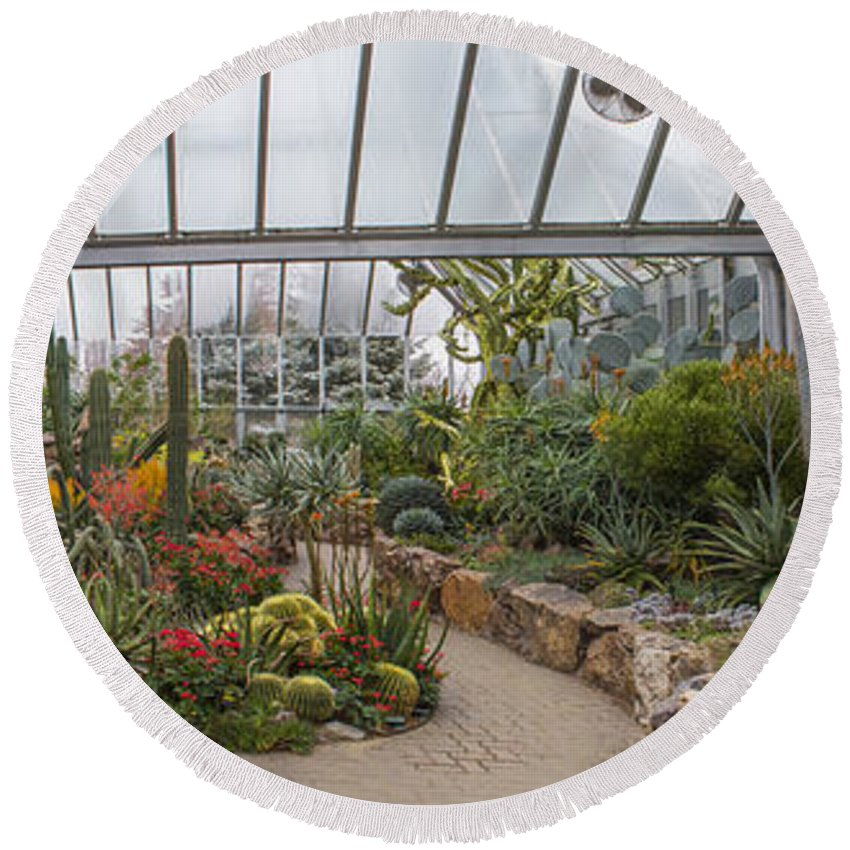 Greenhouse Round Beach Towel featuring the photograph Hothouse by Robert Storost