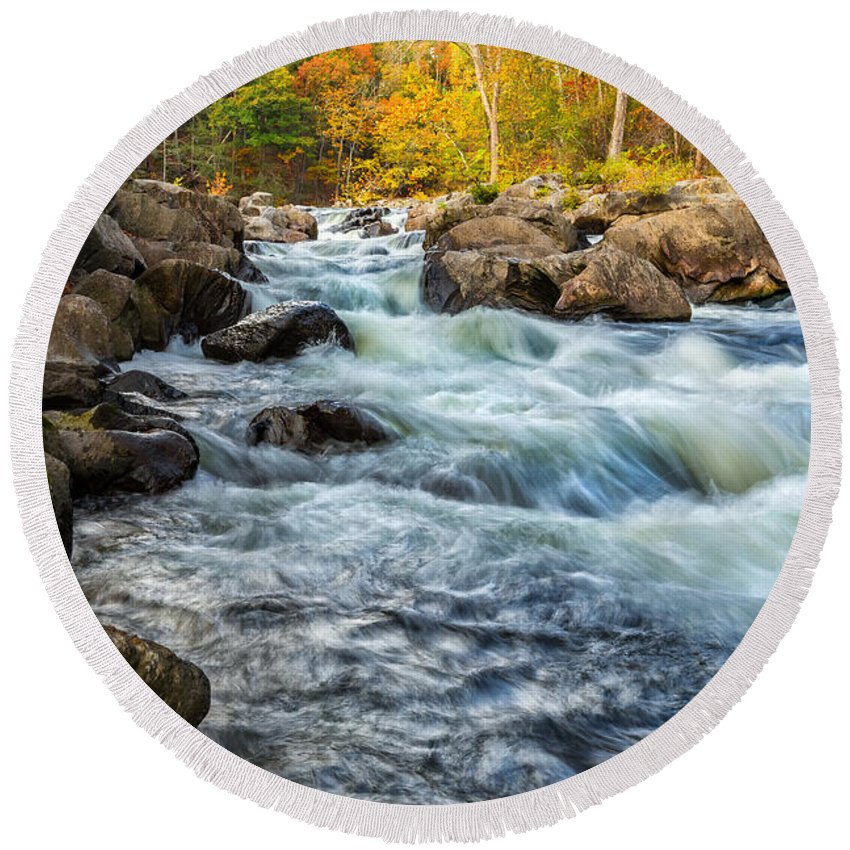 Housatonic River Round Beach Towel featuring the photograph Housatonic River Autumn by Bill Wakeley