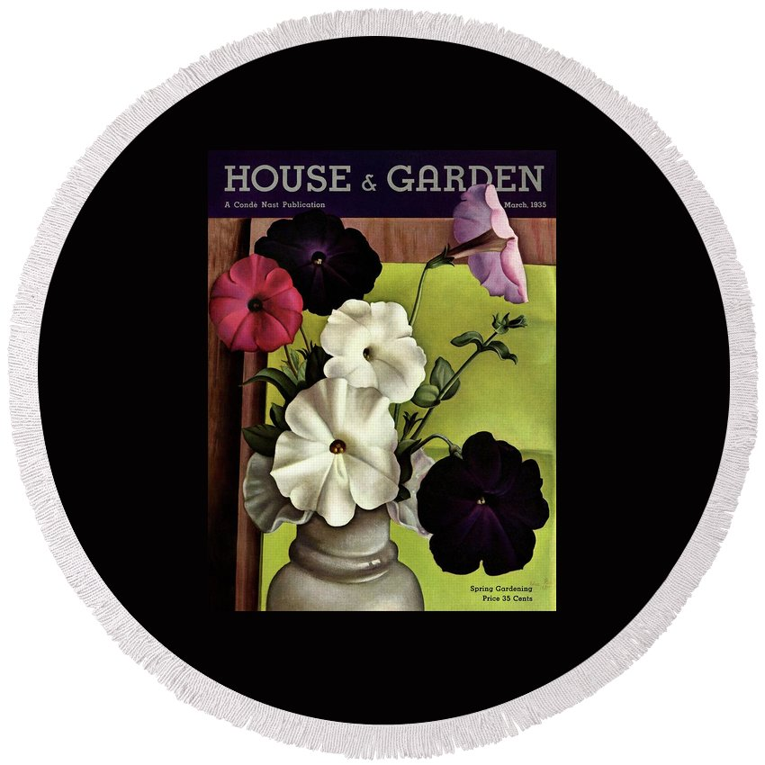 House & Garden Round Beach Towel featuring the photograph House & Garden Cover Illustration Of Petunias by Edna Reindel