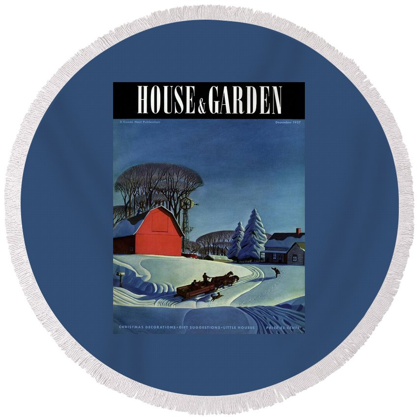 House And Garden Round Beach Towel featuring the photograph House And Garden Christmas Decoration Cover by Dale Nichols