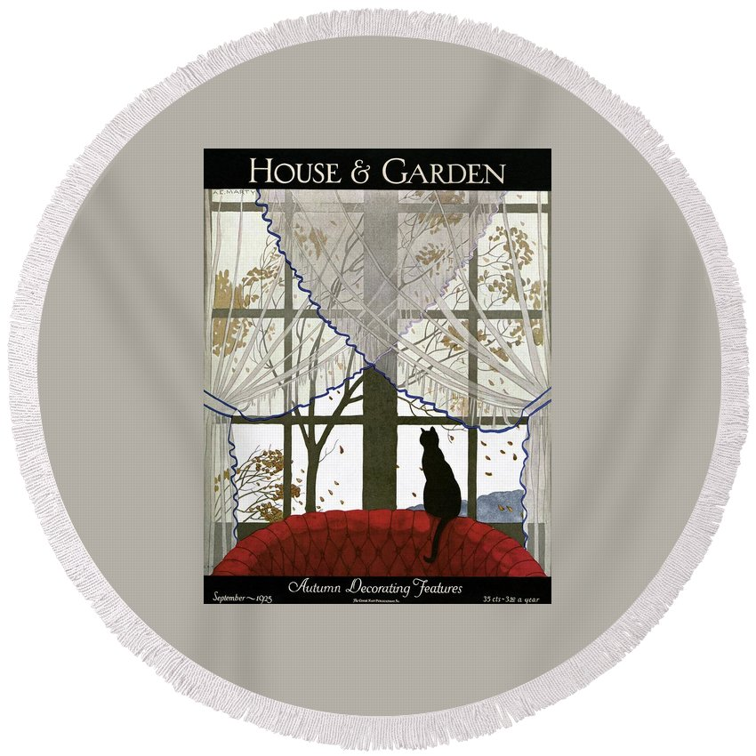 Illustration Round Beach Towel featuring the photograph House And Garden Cover by Andre E. Marty
