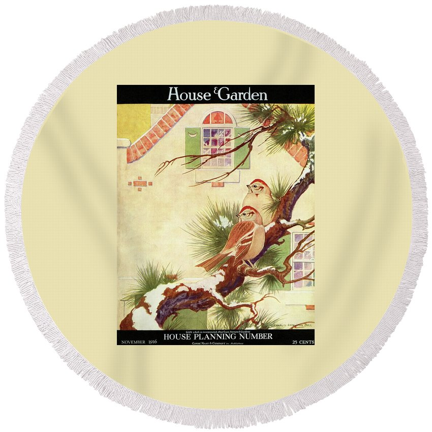 Illustration Round Beach Towel featuring the photograph House And Garden Cover by Charles Livingston Bull