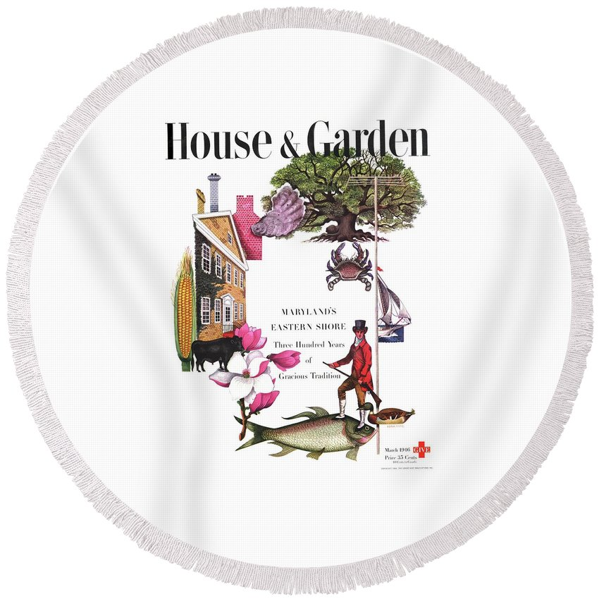 House And Garden Round Beach Towel featuring the photograph House And Garden Cover by Edna Eicke