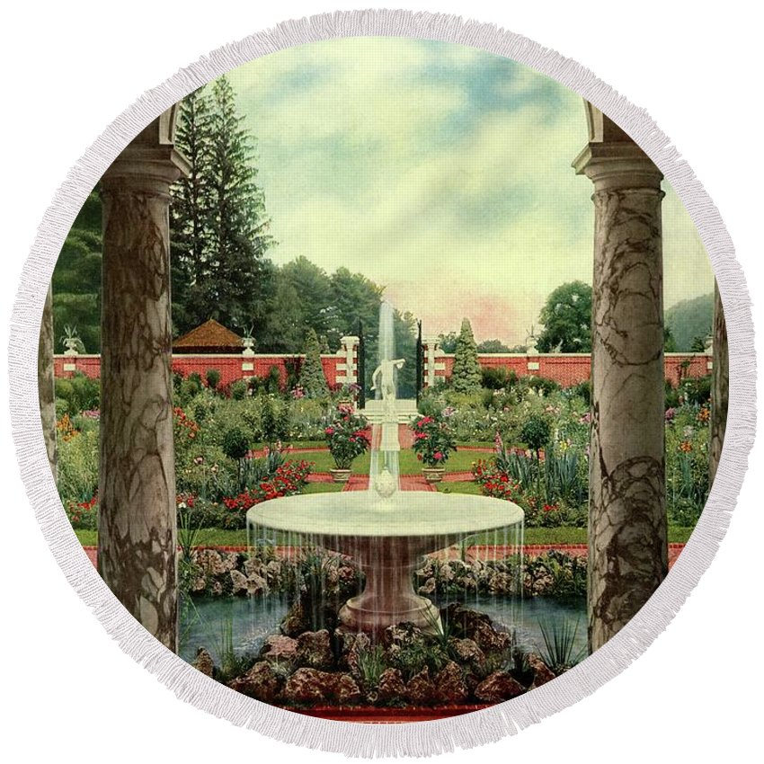 House And Garden Round Beach Towel featuring the photograph House And Garden Cover by Herbert Angell