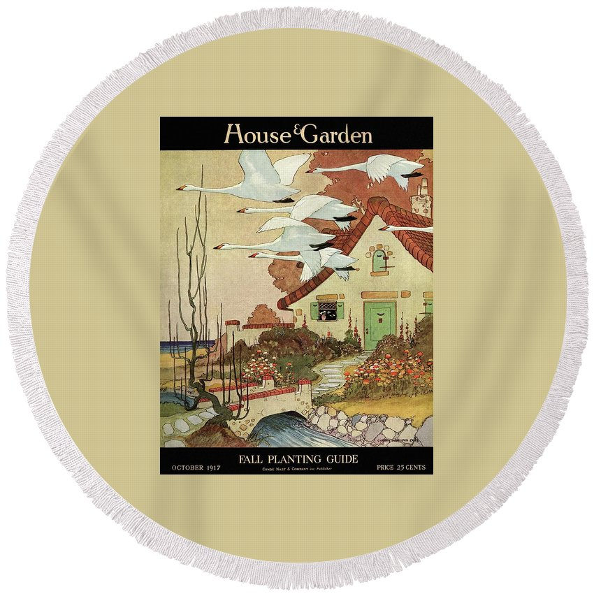 House And Garden Round Beach Towel featuring the photograph House And Garden Fall Planting Guide by Charles Livingston Bull