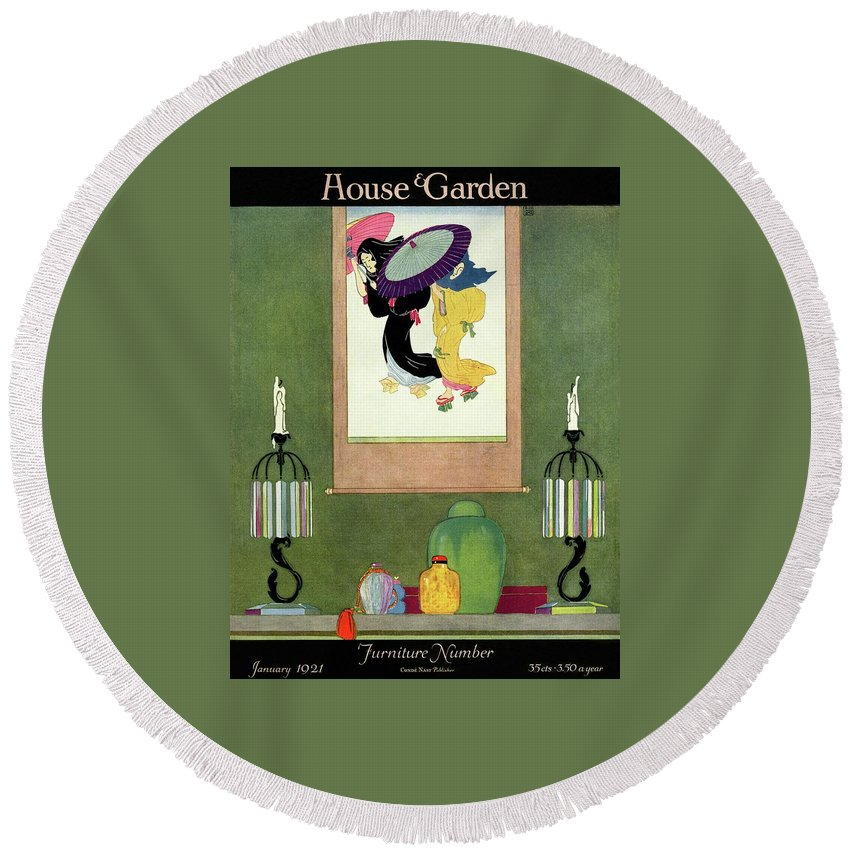 House And Garden Round Beach Towel featuring the photograph House And Garden Furniture Number by Harry Richardson