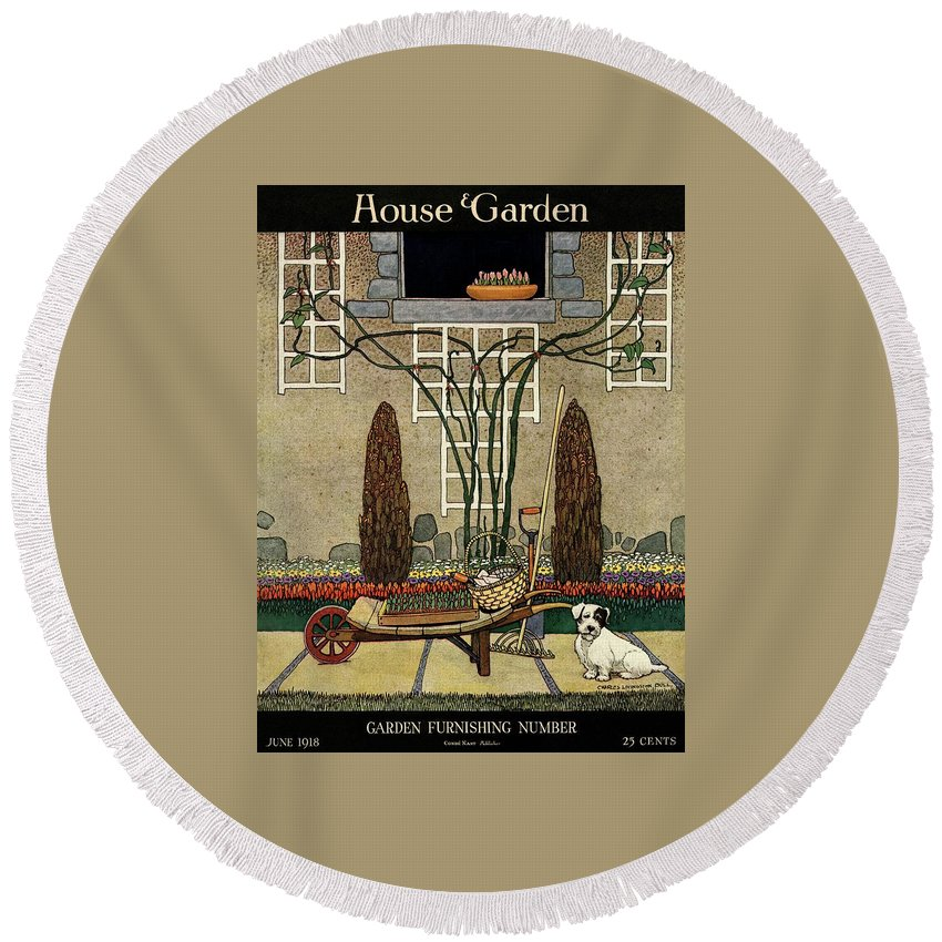 House And Garden Round Beach Towel featuring the photograph House And Garden Garden Furnishing Number Cover by Charles Livingston Bull