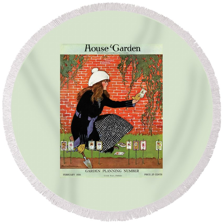 House And Garden Round Beach Towel featuring the photograph House And Garden Garden Planting Number Cover by Ruth Easton