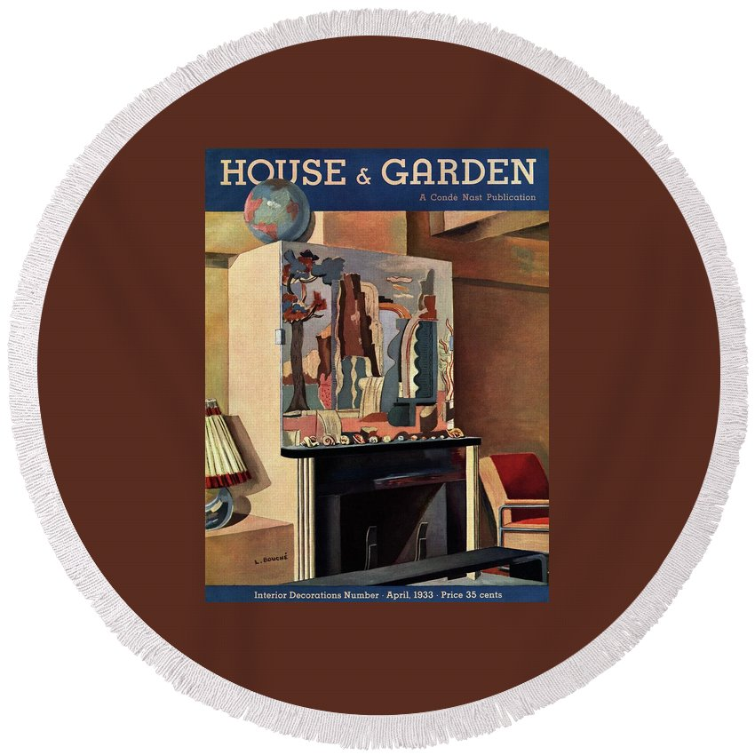 House And Garden Round Beach Towel featuring the photograph House And Garden Interior Decoration Number Cover by Louis Bouche