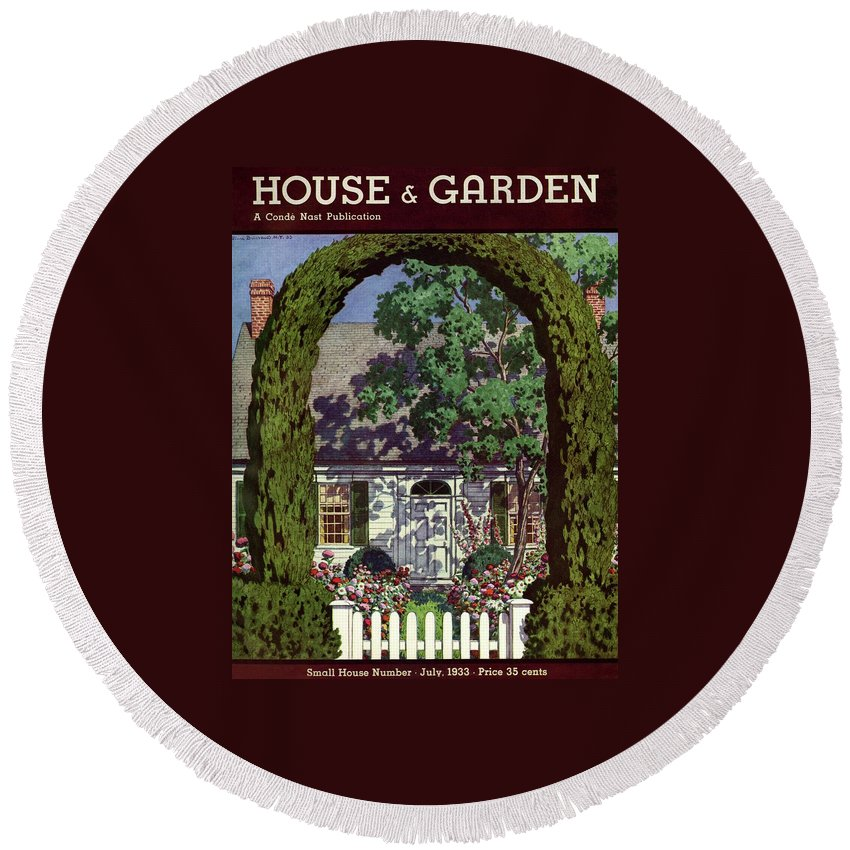 House And Garden Round Beach Towel featuring the photograph House And Garden Small House Number by Pierre Brissaud