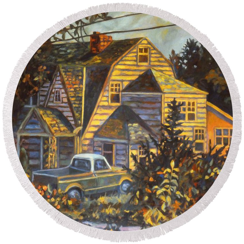 Kendall Kessler Round Beach Towel featuring the painting House In Christiansburg by Kendall Kessler