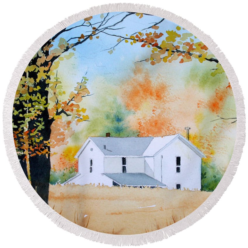 Farms Round Beach Towel featuring the painting House In The Meadow by Jim Gerkin