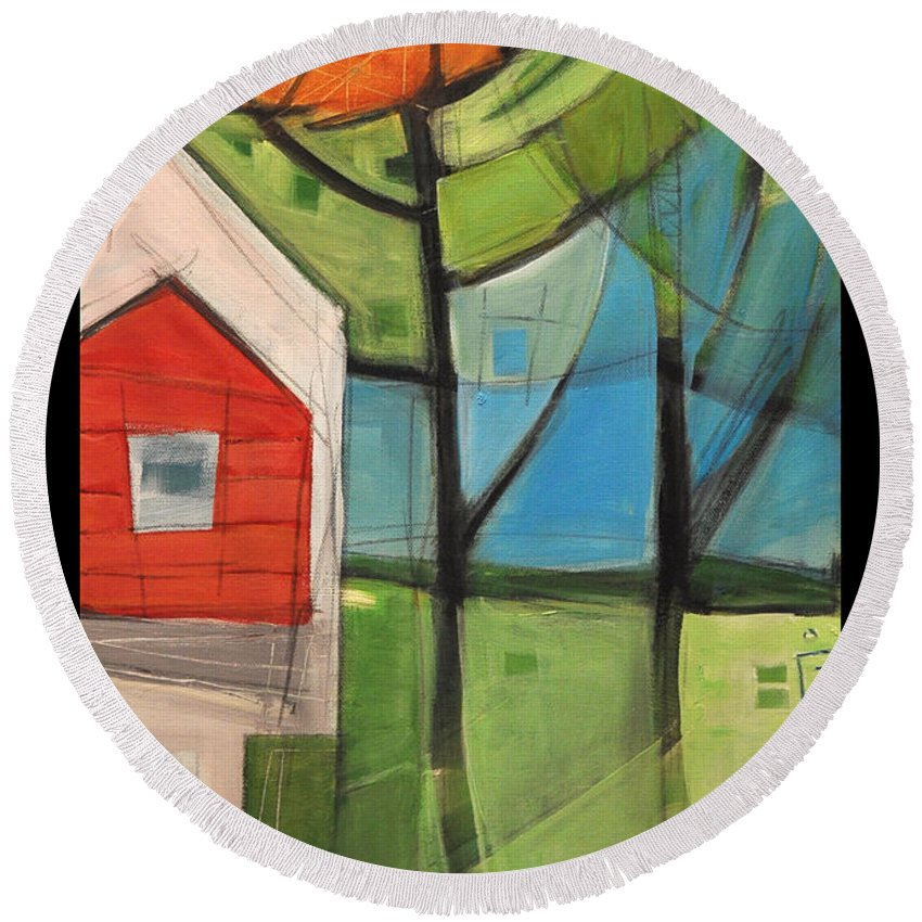 House Round Beach Towel featuring the painting House In The Trees by Tim Nyberg