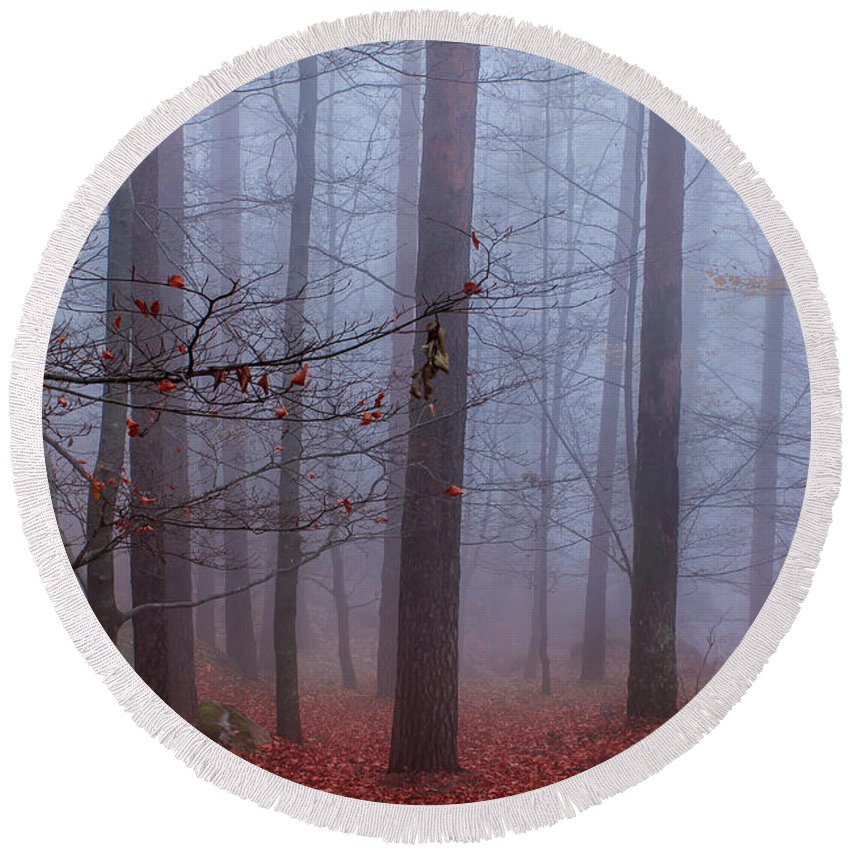 Forest Round Beach Towel featuring the photograph House Of Spirits by Filomena Francisco