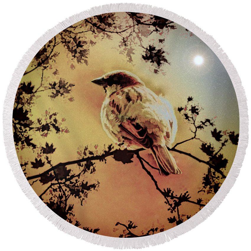 Sparrow Round Beach Towel featuring the mixed media House Sparrow by Lyriel Lyra