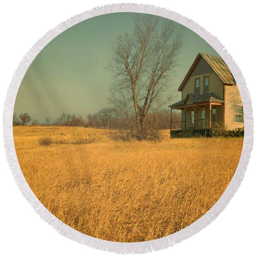 House Round Beach Towel featuring the photograph House With Tin Roof by Jill Battaglia