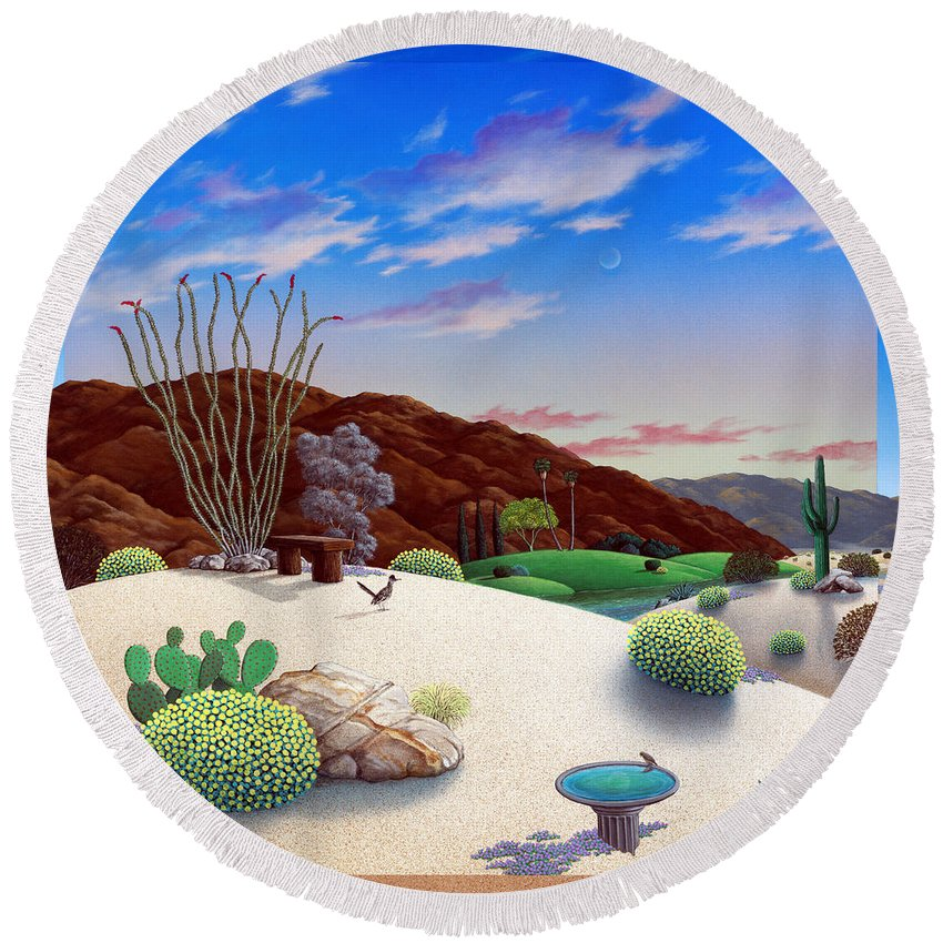 Desert Round Beach Towel featuring the painting Howards Landscape by Snake Jagger