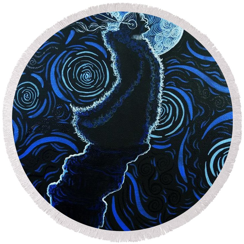 Native American Round Beach Towel featuring the painting Howling At The Moon by Dale Crum