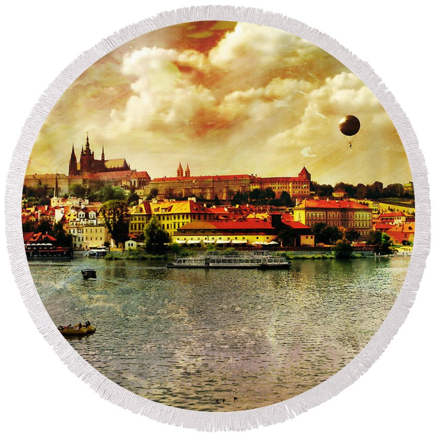 Hradczany Art Round Beach Towel featuring the photograph Hradczany - Prague by Justyna JBJart