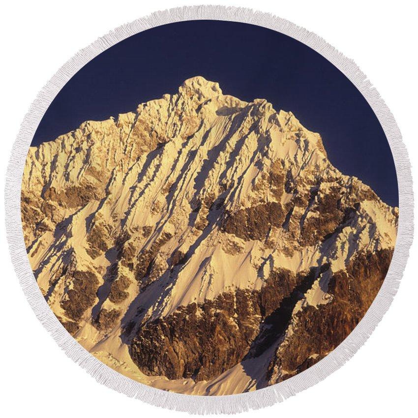 Peru Round Beach Towel featuring the photograph Mt Huandoy Sunrise Cordillera Blanca by James Brunker
