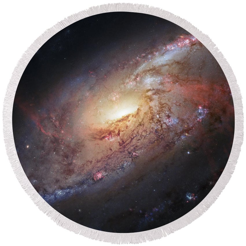 3scape Round Beach Towel featuring the photograph Hubble View Of M 106 by Adam Romanowicz