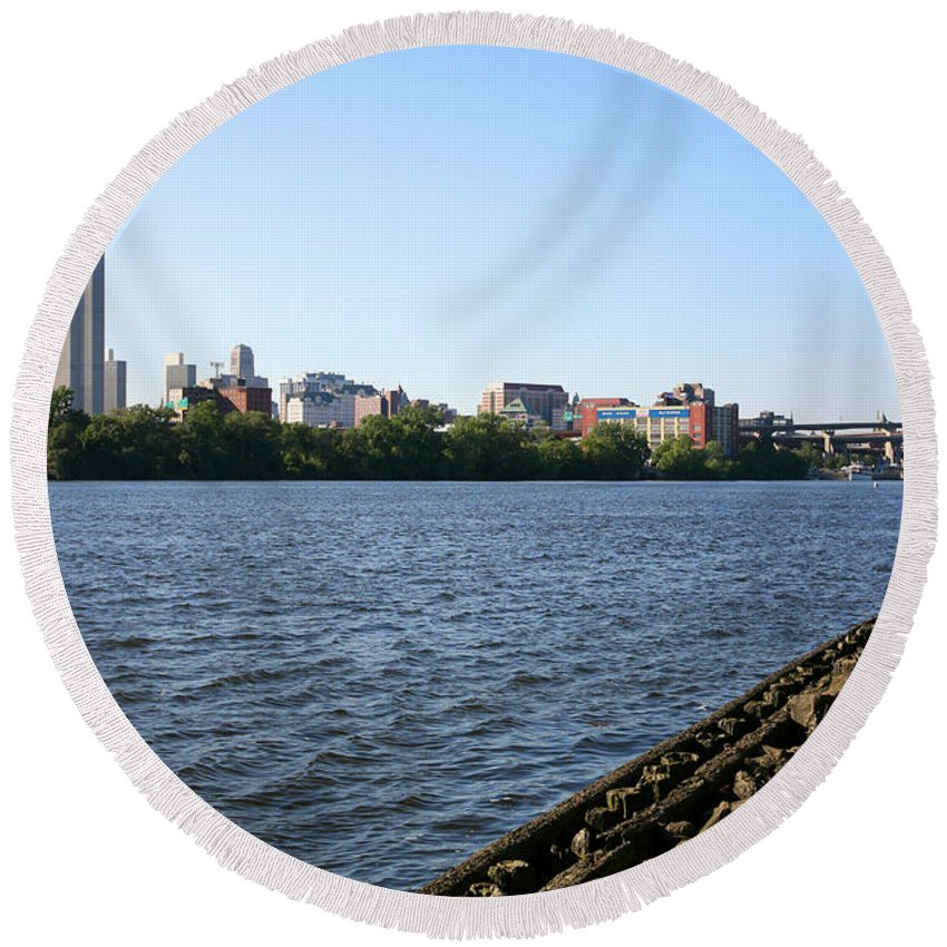 Empire State Plaza Round Beach Towel featuring the photograph Hudson River And Albany Skyline by Bill Cobb