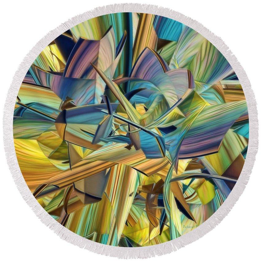 3d Round Beach Towel featuring the digital art Hues And The Blues by Deborah Benoit